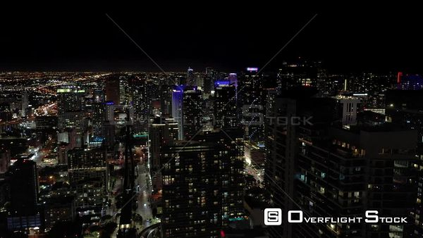 Aerial Night Reveal Downtown Miami Brickell