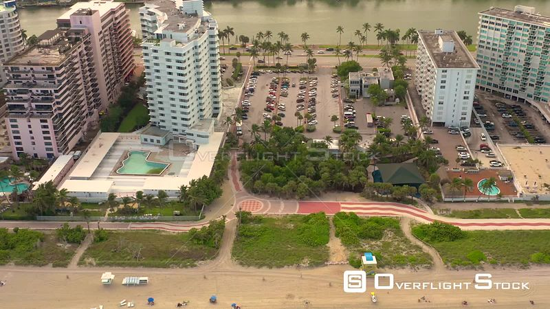 Aerial Florida Miami Beach Atlantic Greenway 4k