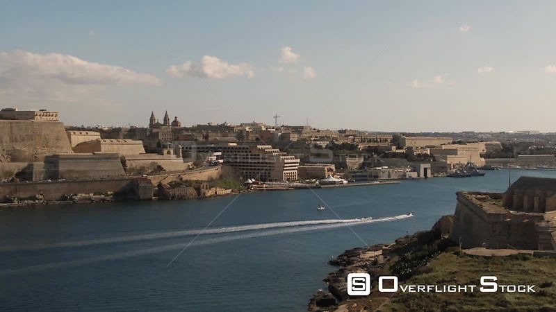 Time lapse panning view of Valletta and Manoel island in Malta