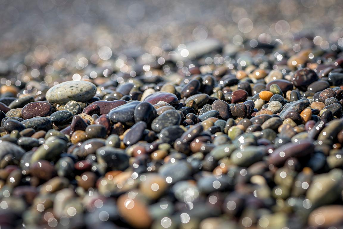 Colourful pebbles make up a dramatic beach on Nootka Island.