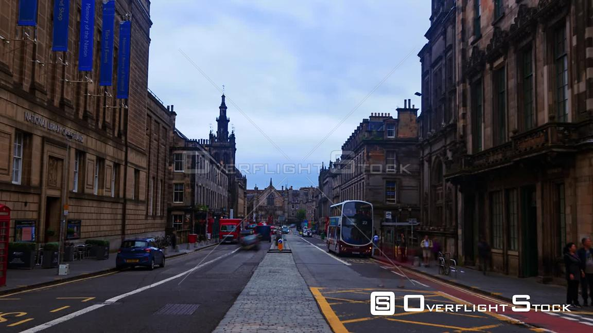 Timelapse View of George Iv Bridge in Edinburgh Old Town