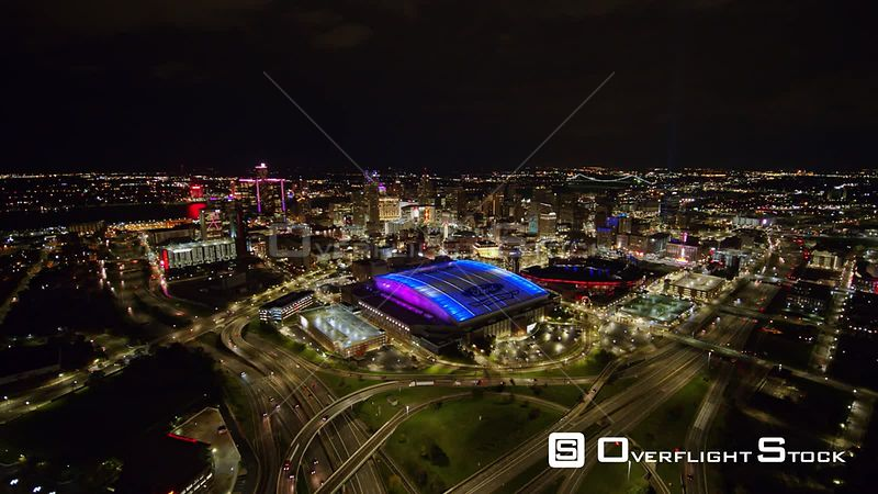 Downtown Detroit abd Ford Field Night. Michigan