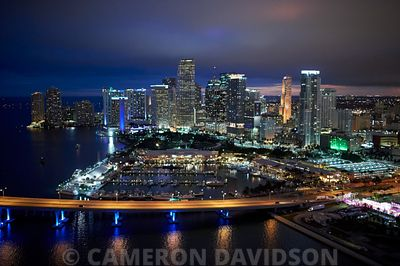 Aerial of Miami at dusk