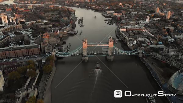 Tower Bridge, filmed by drone in autumn, at sunset, London, United Kingdom
