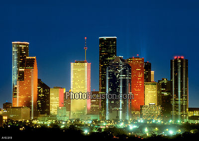 Houston at night and skyscapers in color