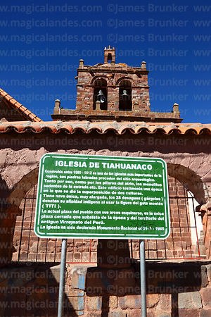 Belfry and sign with history of San Pedro church, Tiwanaku, La Paz Department, Bolivia