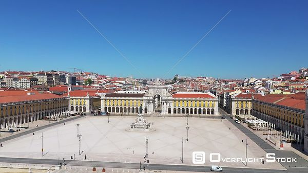 Praca Do Comercio, in Terreiro Do Paco,in Lisbon, Empty Streets, During Covid-19 Pandemic, on a Sunny Day, Portugal