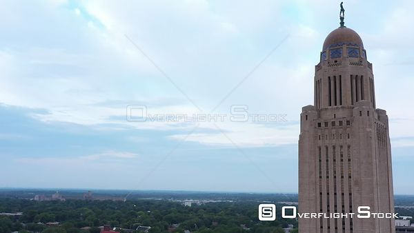 State capital building and downtown buildings, Lincoln, Nebraska, USA
