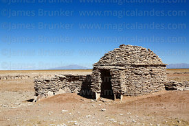 House in a Chipaya community made from flat, sedimentary, stromatolite rocks, Oruro Department, Bolivia