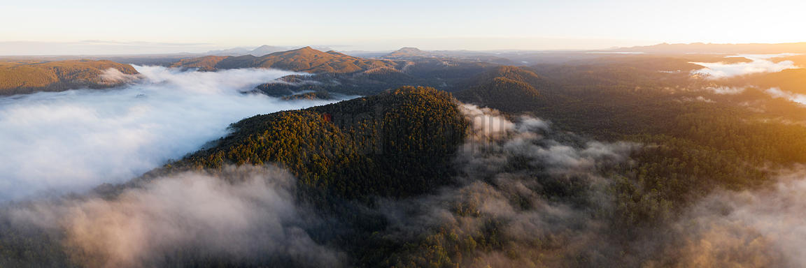 Aerial View of the Landscape above the Pieman River at Sunrise Looking towards Mt Donaldson
