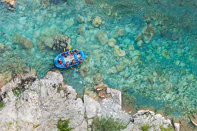 Aerial Image of People Rafting Down the Tara Gorge Montenegro