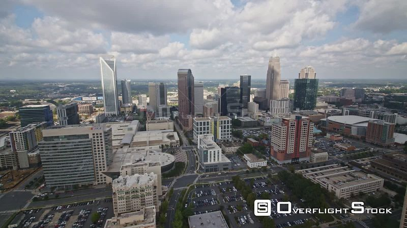 North Carolina Charlotte Aerial Traversing birdseye over downtown