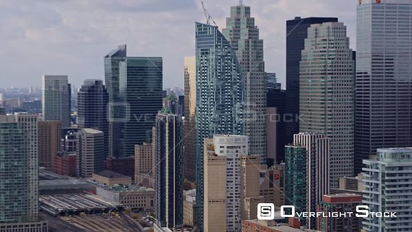 Toronto Ontario Panoramic downtown cityscape mid vantage with cloud shadow movement