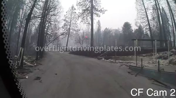 Camp Fire Post Fire Smoke  Paradise California USA - Center Front View Driving Plate Cam22 Feb 15, 2019