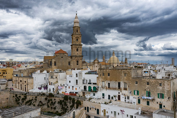 Storm Clouds Gather over the Old City of Monopoli at Noon