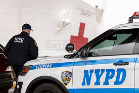 March 30. 2020 - New York, New York - The 1,000-bed floating hospital USNS Comfort, docked Monday at Pier 90 on Manhattan's W...
