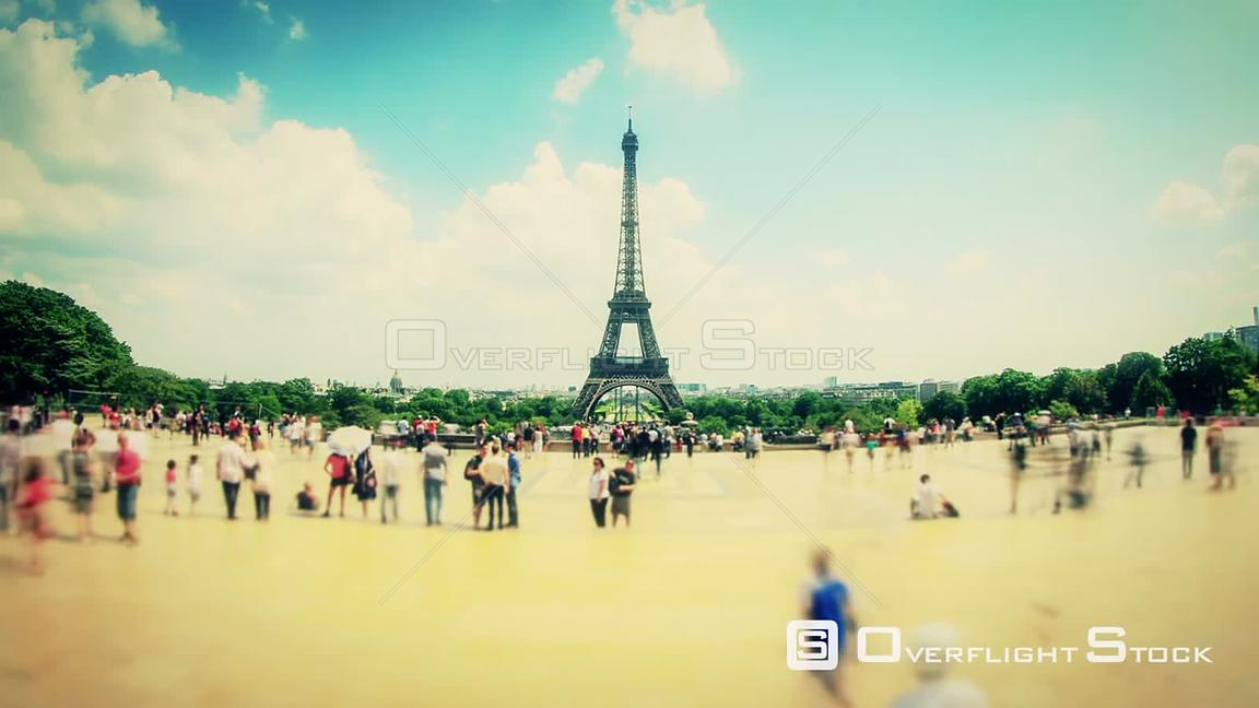 Pedestrian time lapse with Eiffel tower in background Paris France