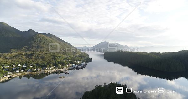 Central Coast, BC Canada. Great Bear Rainforest Fjords, Heiltsuk Nation, Bella Bella Village