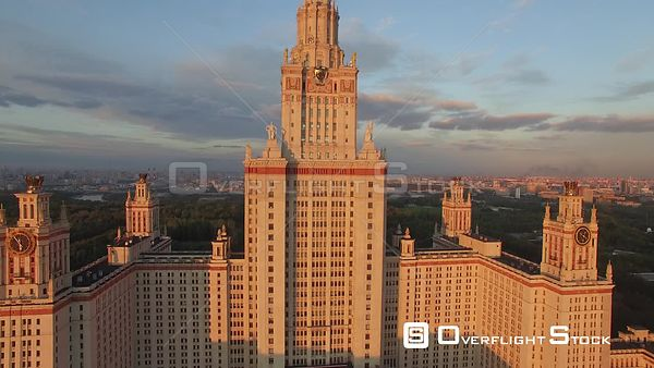 Moscow State University Descending Flight During the Sunset. Moscow Russia Drone Video View