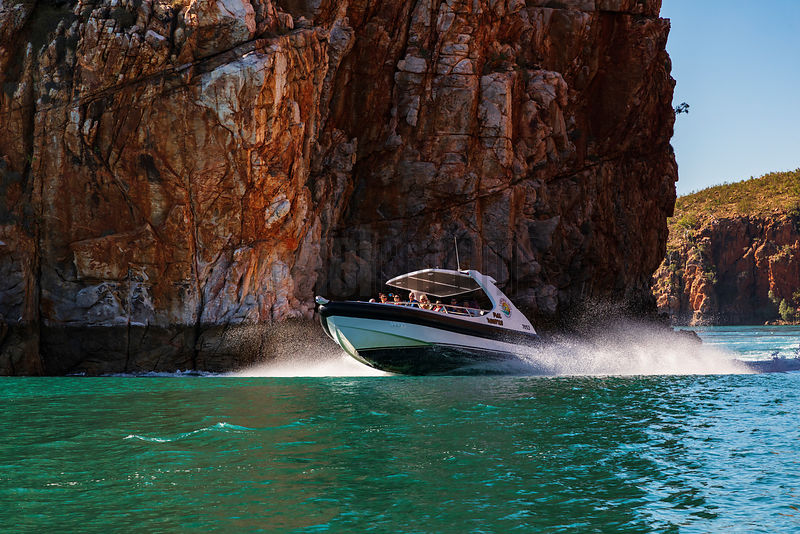 Powerboat Crosses over the Narrow Gap at Horizontal Falls