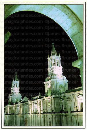 #64 Cathedral at  night, Arequipa
