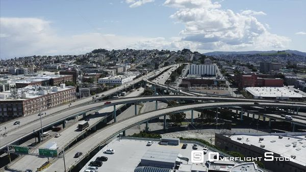 Freeway Drone Aerial View Covid19 Lockdown San Francisco California