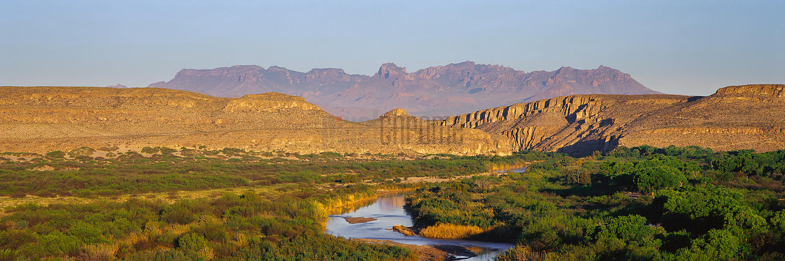 Rio Grande River and Chisos Mountains