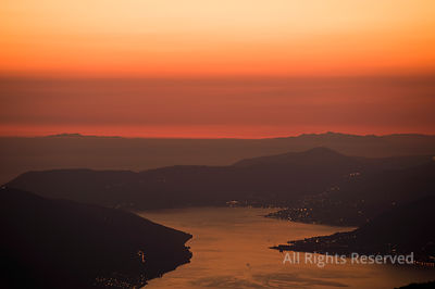 Amazing Aerial Views After Sunset Over the Bay of Kotor With a Red Sky Taken from Lovcen National Park Montenegro