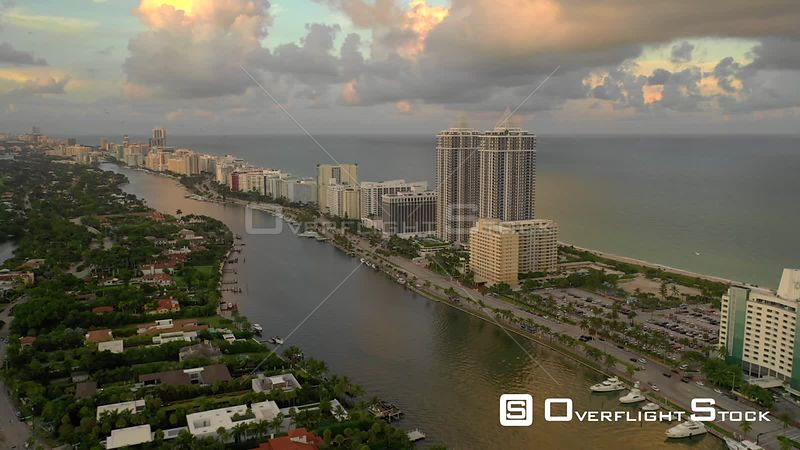 Aerial dusk shot Miami Beach 4k