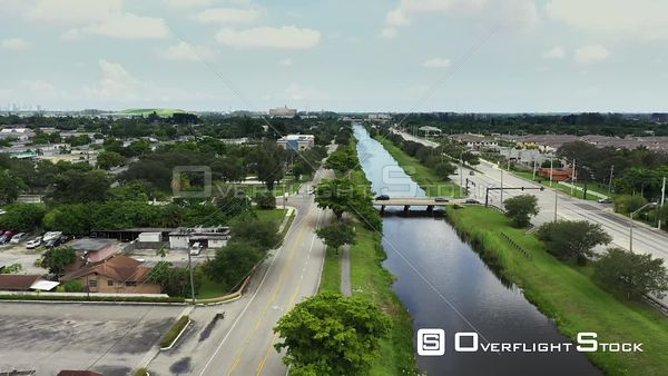 Aerial video canal between Orange Drive and Griffin Road Davie Florida USA