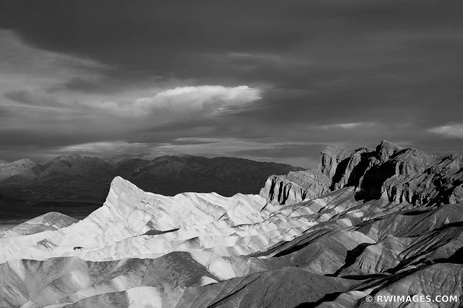 MANLY BEACON ZABRISKIE POINT SUNRISE DEATH VALLEY CALIFORNIA BLACK AND WHITE