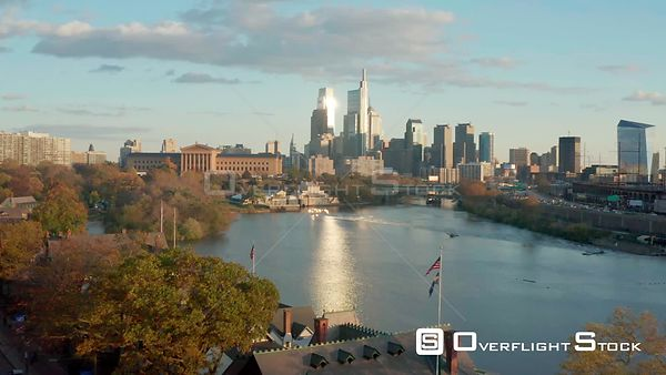 Drone Video of Downtown Philadelphia Cityscape alond the River and Art Gallery