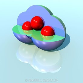 Ozone Molecule, O3, reflecting on surface