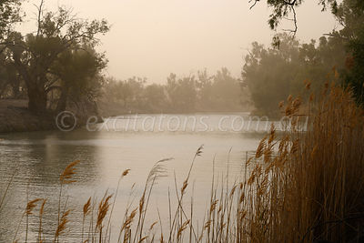 Darling River shrouded in dust.