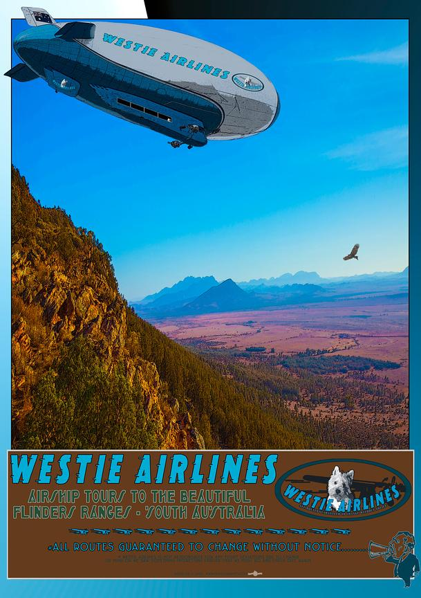 Westie Airlines travel poster