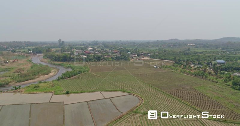Thung Pi Thailand Aerial Traveling panoramic view of agriculture crops