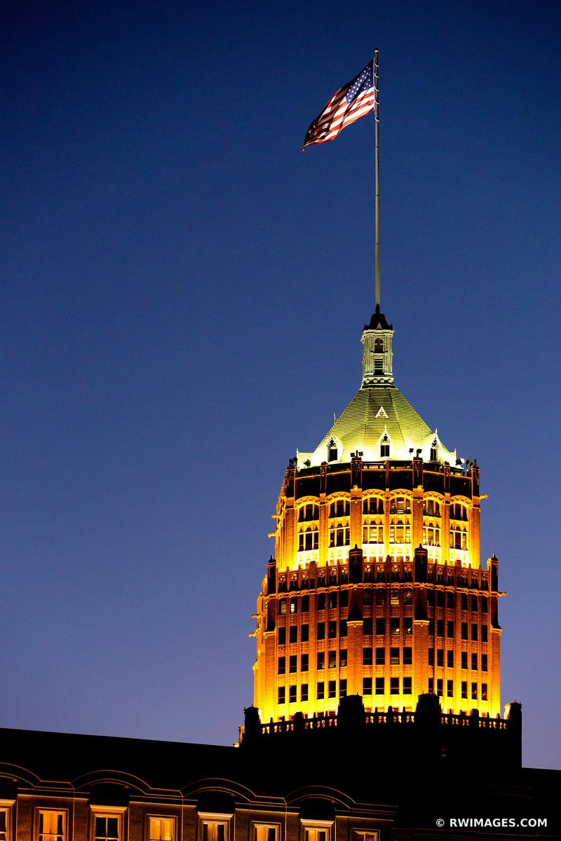 DOWNTOWN ARCHITECTURE SAN ANTONIO TEXAS NIGHT VERTICAL