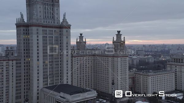 Descend Near the Moscow State University. Moscow Russia Drone Video View