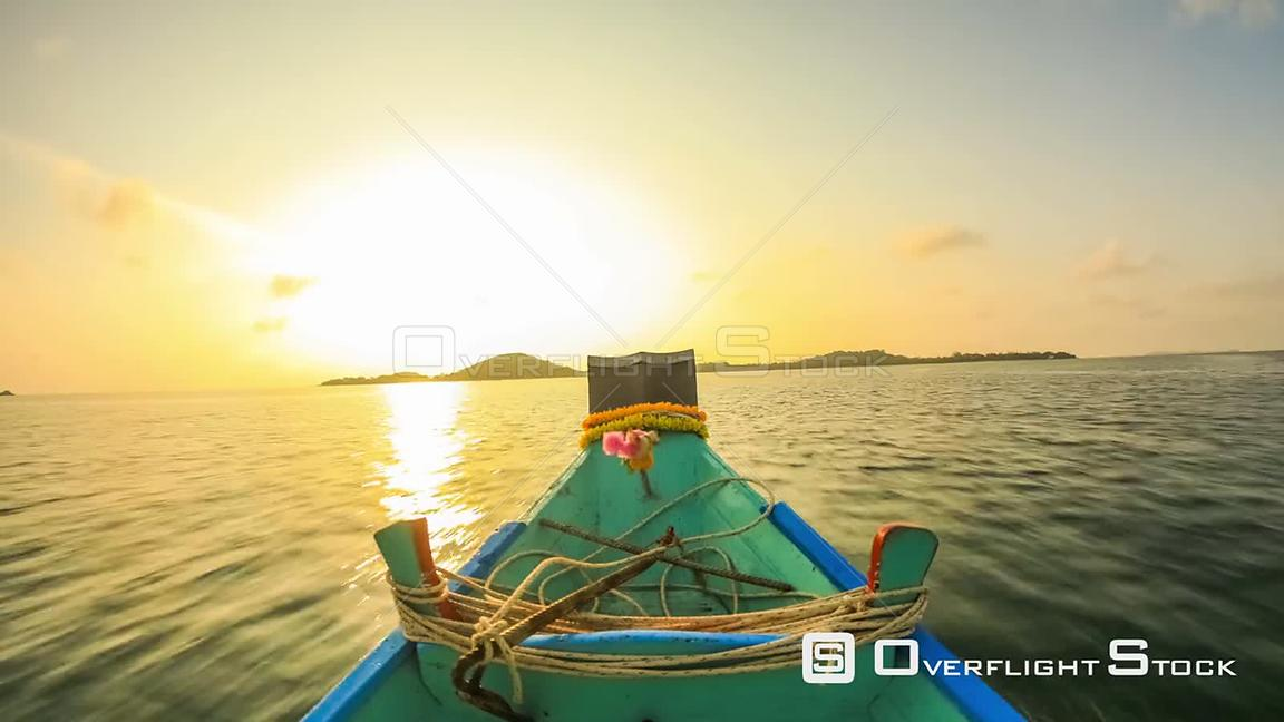 Boat ride time lapse around a small island near Ko Samui, Thailand in the early morning. Thailand
