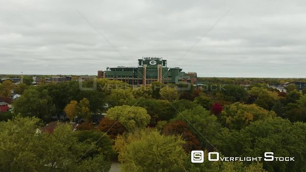 Lambeau Field Outdoor Athletic Stadium Green Bay, Wisconsin Drone Aerial View
