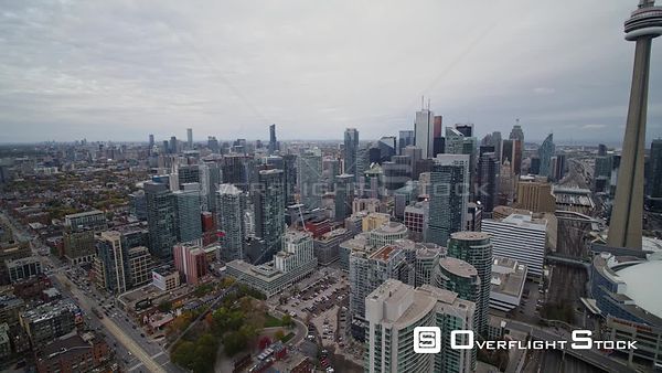 Toronto Ontario Slow panoramic view of downtown and Entertainment District cityscapes