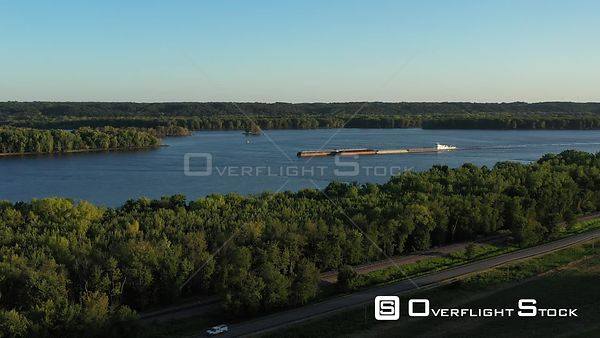 Mississippi River towboat and barges, Muscatine, Iowa, USA