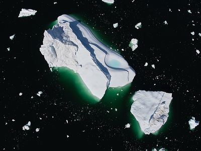 Aerial photograph of an Greenland Iceberg