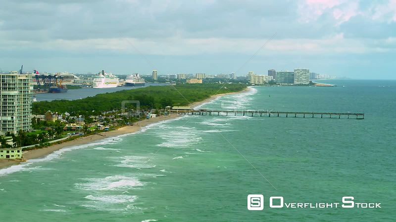 Dania Beach Fishing Pier shot with aerial drone 4k