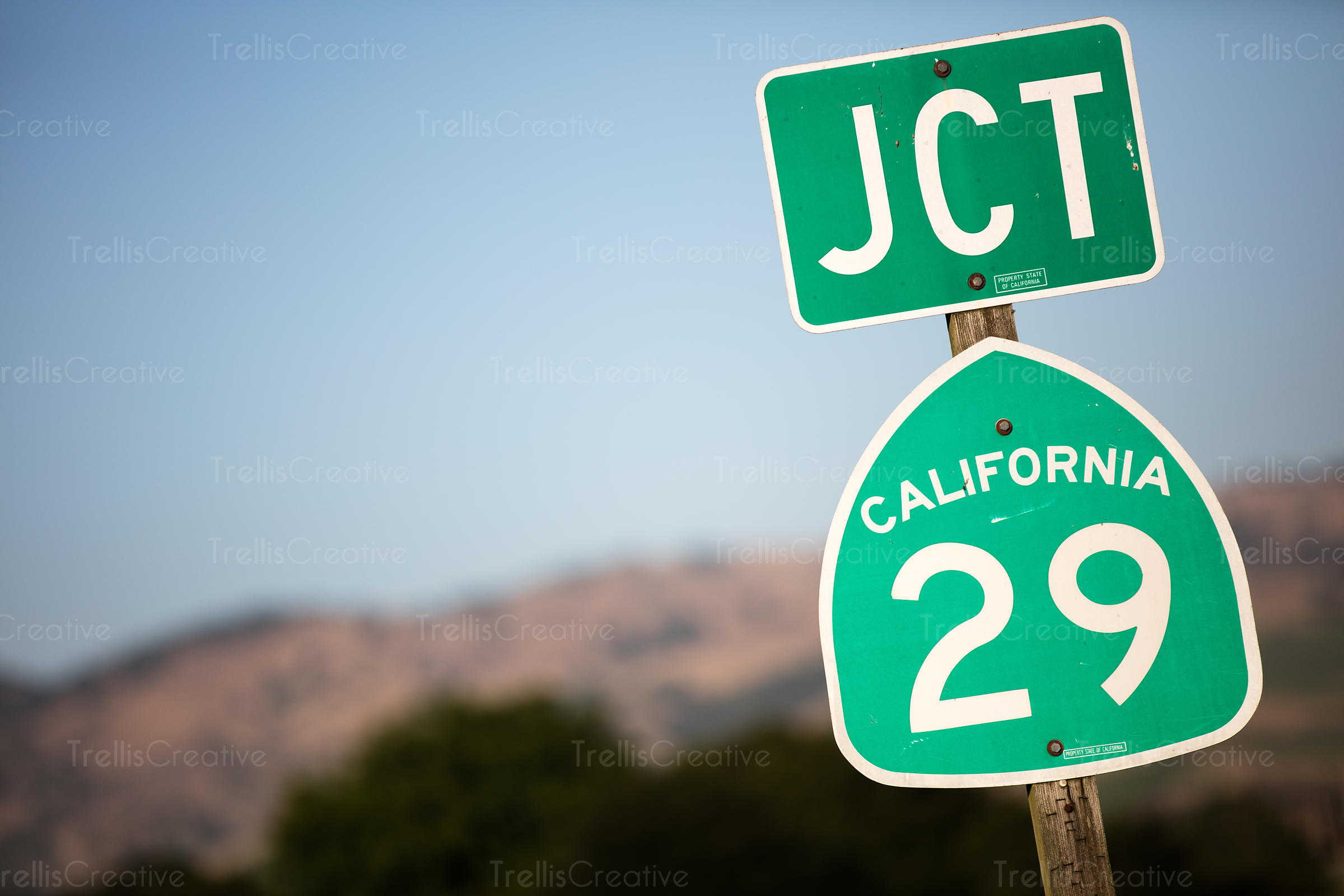 Close up of road sign on Highway 29, South Napa, Napa Valley, California, USA.