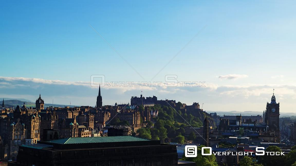 Timelapse View of Edinburgh Old Town and Castle at Sunset