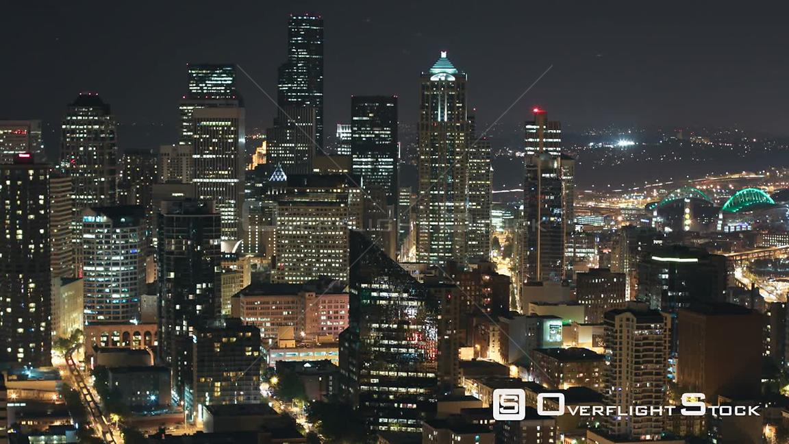 Seattle Washington State USA Time lapse of Seattle city center buildings at night.