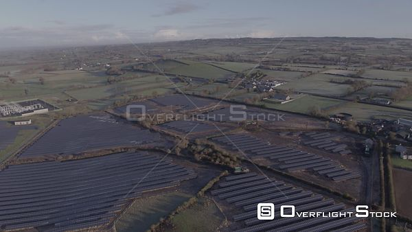A Descend on to a Solar Park on a Sunny Autumnal Morning
