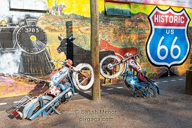 Old Motor Cycles and Street Painting, Route 66, Seligman, Arizona, USA