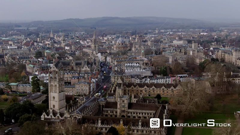 Aerial approaching view of the center of the town of Oxford. United Kingdom